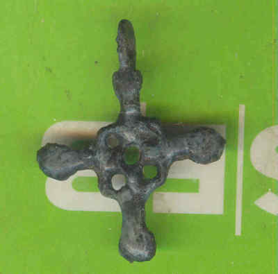 5981 Ancient Viking Bronze Cross Pendant Kievan Russia Ukraine ca 1100 Byzantine