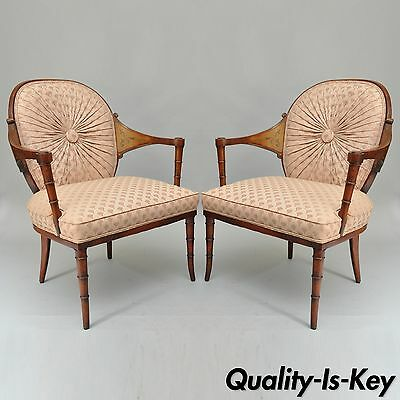 Pair of Vintage Faux Bamboo Hollywood Regency Pink Fireside Lounge Arm Chairs