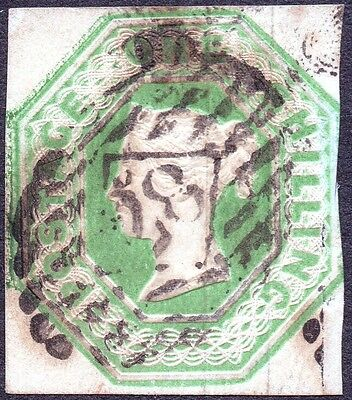 QV 1847-54 SG54 1s Pale Green Embossed Issue Die 1