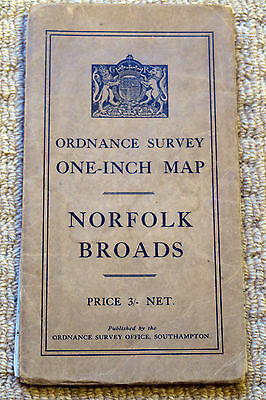 Ordnance Survey One-Inch District Map of the Norfolk Broads, 1932, on Cloth