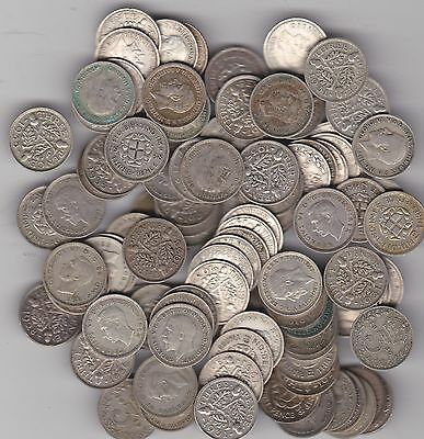 100 Silver Three Pence Coins Dated Between 1920 To 1942 In Good Fine Or Better