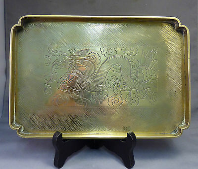 Chinese Antique Small Brass Dragon Tray c1900 Opium Wars Era Fine Etched Paktong