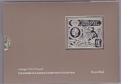 George V Puc Pound Silver Stamp Ingot In Card Flatpack