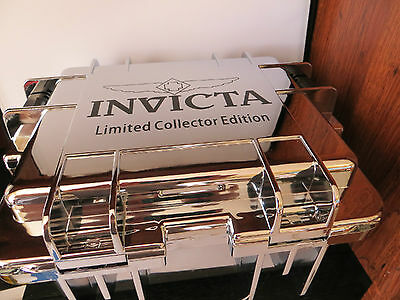 Invicta 3 Slot Chrome Collector Watch Case Dive Box Impact Scuba