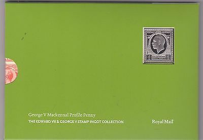 George V Mackennal Profile Penny Silver Stamp Ingot In Card Flatpack