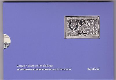 George V Seahorse Ten Shillings Silver Stamp Ingot In Card Flatpack