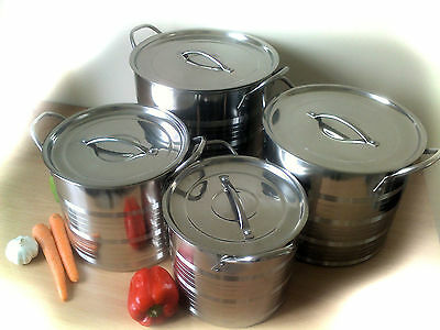 Set Of 4 Stainless Steel Stockpots Stock Pot Catering Pans  With Lids