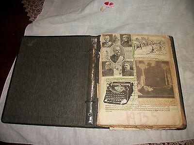 Old 1935 Scrapbook w News Clippings Hindenburg King George V Jean Harlow Royals
