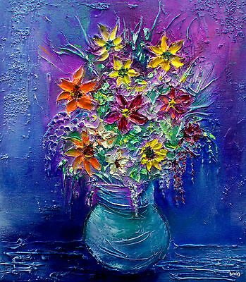 Original Oil Painting Summer Flowers Deep Texture - By Smig-No Reserve