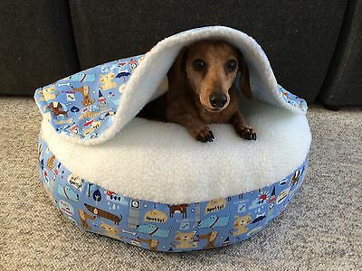 NEW Dachshund Small Dog Bed Snuggle Bed for Burrowing Dogs Blue London Doxies