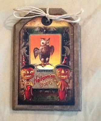 5 WOODEN Handcrafted Halloween Ornaments/Bowl Fillers/Ornies/HangTags SET9e