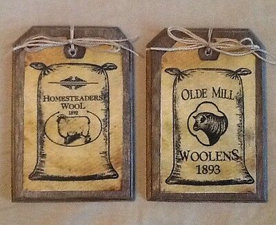 5 Handcrafted Wood ORNIES/Ornaments/PRIM HangTags/BowlFillers SHEEP&WOOL SET784