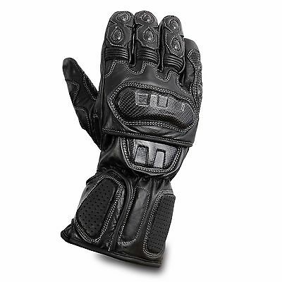 Waterproof Motorcycle Motobike Scooter Leather Sports Long Gloves Black