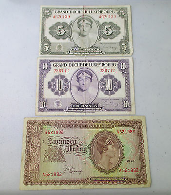 Luxembourg 5, 10, 20 Francs Notes