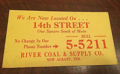 Vintage 1920s 30s River Coal & Supply New Albany Indiana Ink Blotter
