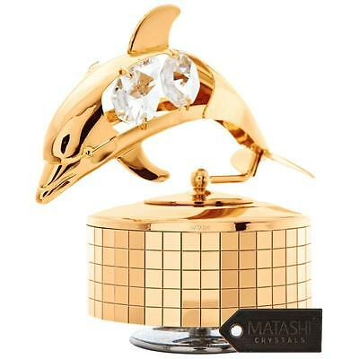 24K Gold Plated Music Box with Crystal Studded Dolphin Figurine by Matashi
