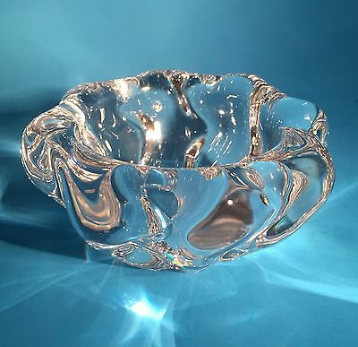 """Vintage Daum France Crystal Bowl Sm Candy Dish Clear Swirled Etch Signed 4 1/2"""""""