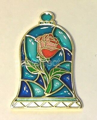 Disney Pin BEAUTY & THE BEAST ROSE UNDER DOME Stained Glass Belle WDW Parks