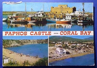 Cyprus postcard: Pahos Castle-Coral Bay, posted with stamps.