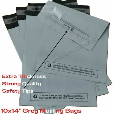 """100X STRONG GREY 10""""X14"""" MAILING BAGS 25x35CM LARGE LETTER PEAL & SEAL PACKAGING"""