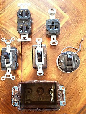 Vintage Bakelite Electric Switch, Socket, Junction Box Steampunk Lot of 6