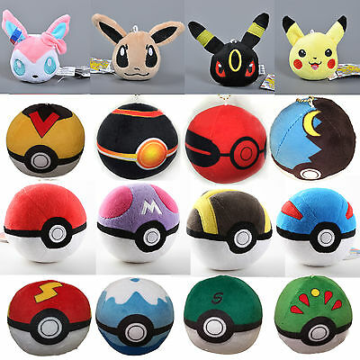 Anime Pokemon Go Poke BALL Plush Soft Toy Eevee Collectible Pikachu Stuffed Doll