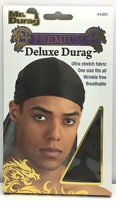 Brand New Mr Durag #4391 Premium Black Deluxe Durag Ultra Stretch One Size