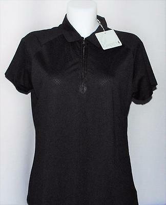 New Ladies Lopez Soul short sleeve Zip Black polyester golf polo shirt Large