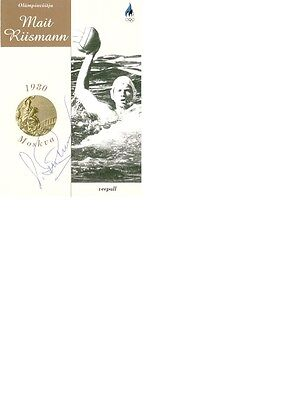 Olympic Champion 1980 at Water polo Mait Riisman original signed 10x15 card.