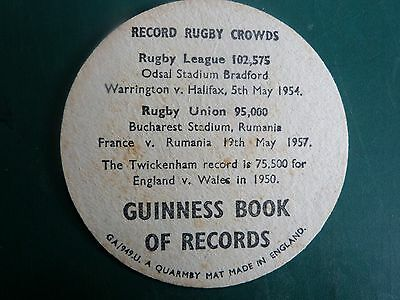 1950s Guinness Beer Mat World Record Rugby Crowds