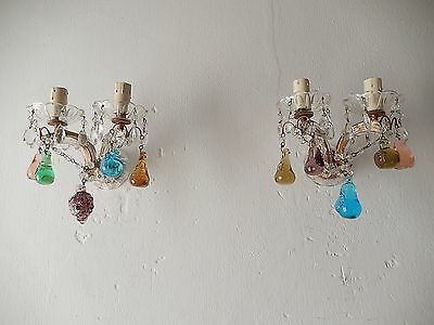 ~c1920 Italian Crystal Swags & Prisms  Murano Fruit RARE Sconces~