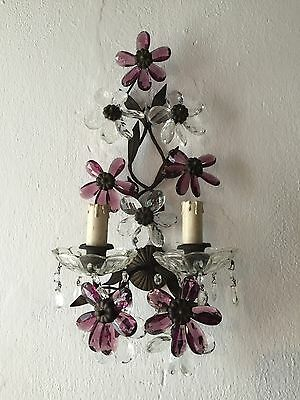 ~c 1920 Big French Maison Bagues Amethyst Flower Crystal Prisms Sconce!~