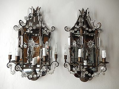 ~c 1900 French Pagoda 3 Lite Mirrors Crystal Spears Sconces Original Vintage~