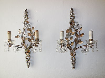 ~c 1930 French Maison Bagues Beaded Floral Green Stripe Sconces RARE Gorgeous!~