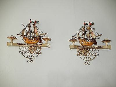 ~c 1930 Nautical Sails Ship Spanish Galleon Boat Italian Sconces Vintage OLD ~