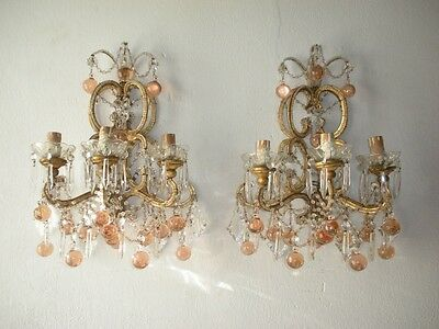 ~c 1900 French Pink Murano Balls Beaded Sconces Rare Vintage~