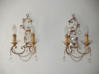~c 1930 French Gilt Wood & Tole Clear Murano Drops Sconces~