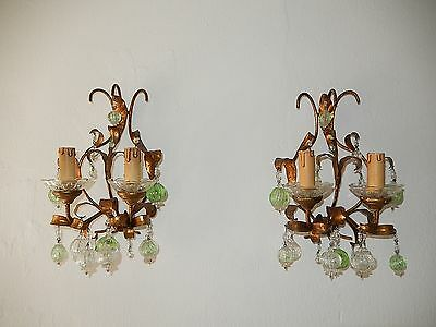 ~c 1930 French Gilt Wood & Tole Green & Clear Murano Blown Balls Sconces~