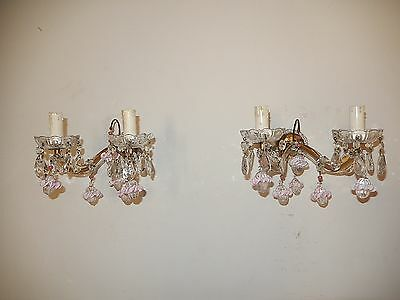 ~c 1920 French Murano Pink Opaline Ribbon Balls & Beads Sconces RARE~