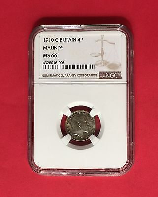 Great Britain -Uncirculated 1910 Maundy Silver 4 Pence  Ngc Ms66.