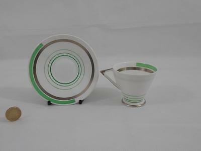 Shelley,Eve Shape,Coffee Cup & Saucer.Green & Silver Bands