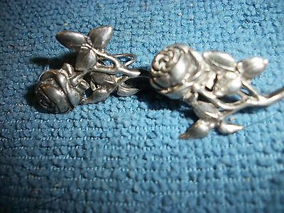 Vintage Sterling Silver (Marked) Screw On Earrings Roses