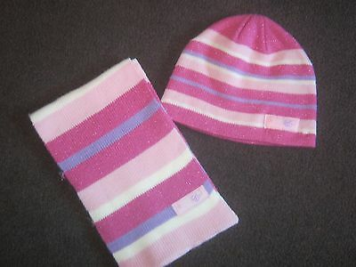 Girls pink, white, lilac sparkly beanie hat & scarf   Age 4-5, 5-6, 6-7. 7-8 yr