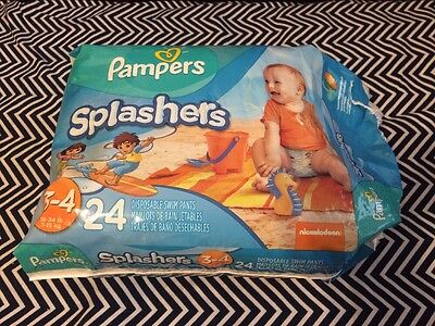 Pampers Splashers Swim Diapers Size 3-4 (16-34 Lbs) See Discription