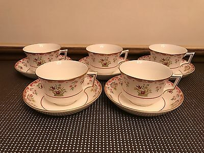 "Wedgwood ""BIANCA""  Williamsburg Stamp ~ Set of 5 ~ Cups & Saucers ~ 2 1/2"" Tall"