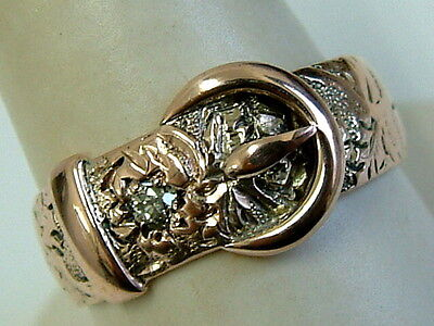 9Ct Rose Gold Gents Engraved Buckle Ring/ Band With Diamond - Dated London 1900