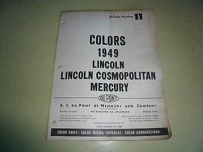 1949 Lincoln Cosmopolitan Mercury DuPont Duco Color Chip Paint Sample - Vintage