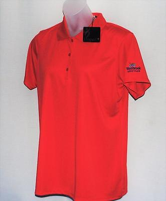 New Ladies Lopez Luster short sleeve red polyester golf polo shirt 2X Plus Size