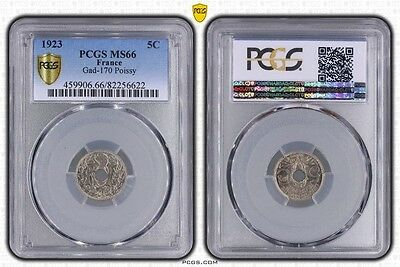 5 centimes Lindauer 1923 Poissy  PCGS MS 66 FDC + !!