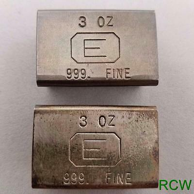 *CRAZY RARE*  Lot of 2 ENGELHARD 3oz 999 Silver Bars Rare Extruded